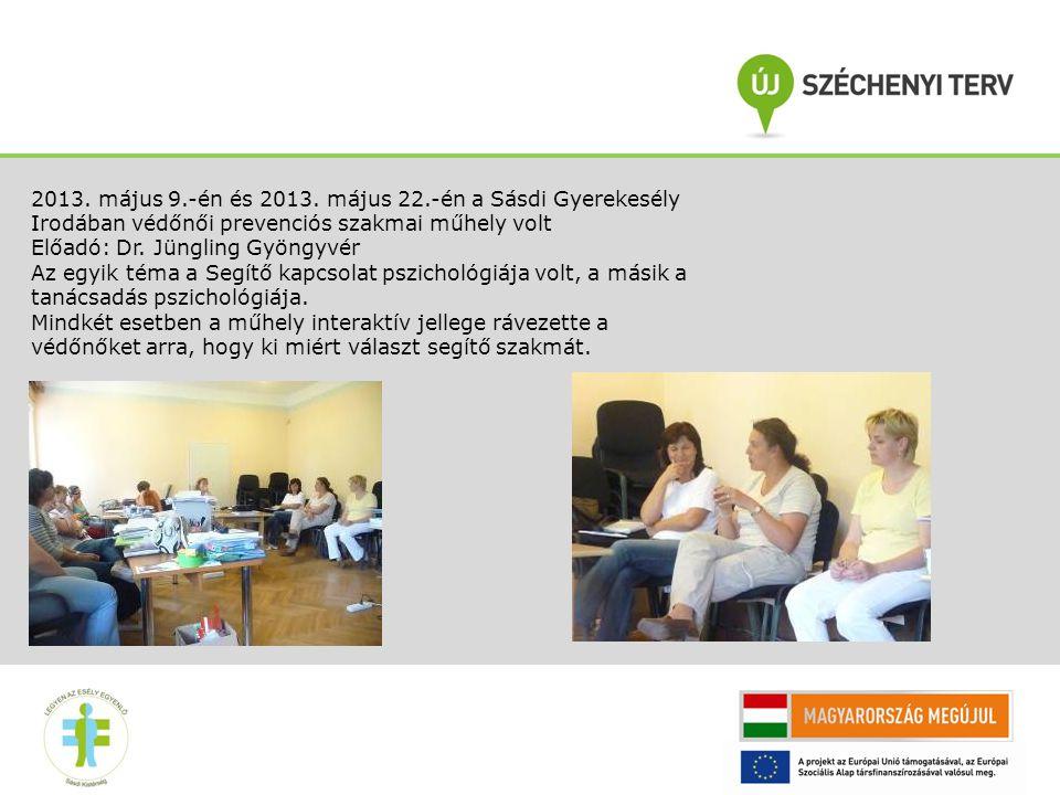 2013. május 9.-én és 2013. május 22.-én a Sásdi Gyerekesély Irodában védőnői prevenciós szakmai műhely volt Előadó: Dr. Jüngling Gyöngyvér Az egyik té