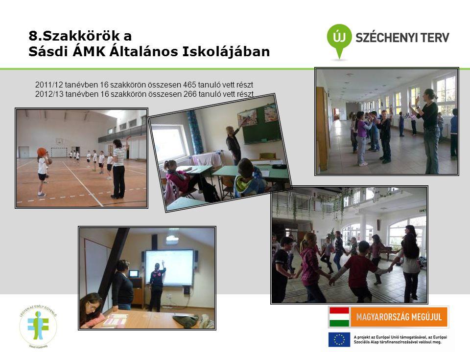 8.Szakkörök a Sásdi ÁMK Általános Iskolájában 2011/12 tanévben 16 szakkörön összesen 465 tanuló vett részt 2012/13 tanévben 16 szakkörön összesen 266 tanuló vett részt