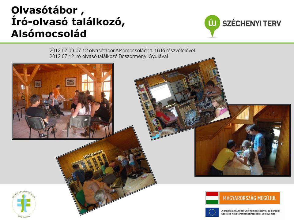 Olvasótábor, Író-olvasó találkozó, Alsómocsolád 2012.07.09-07.12 olvasótábor Alsómocsoládon, 16 fő részvételével 2012.07.12 Iró olvasó találkozó Böszörményi Gyulával
