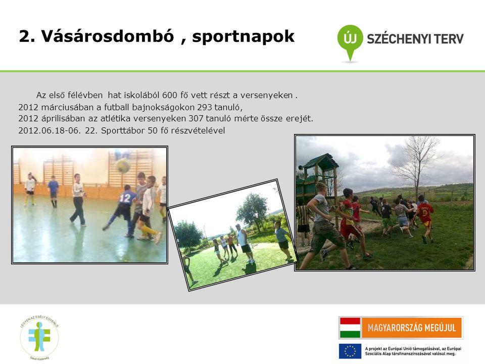 2. Vásárosdombó, sportnapok Az első félévben hat iskolából 600 fő vett részt a versenyeken.