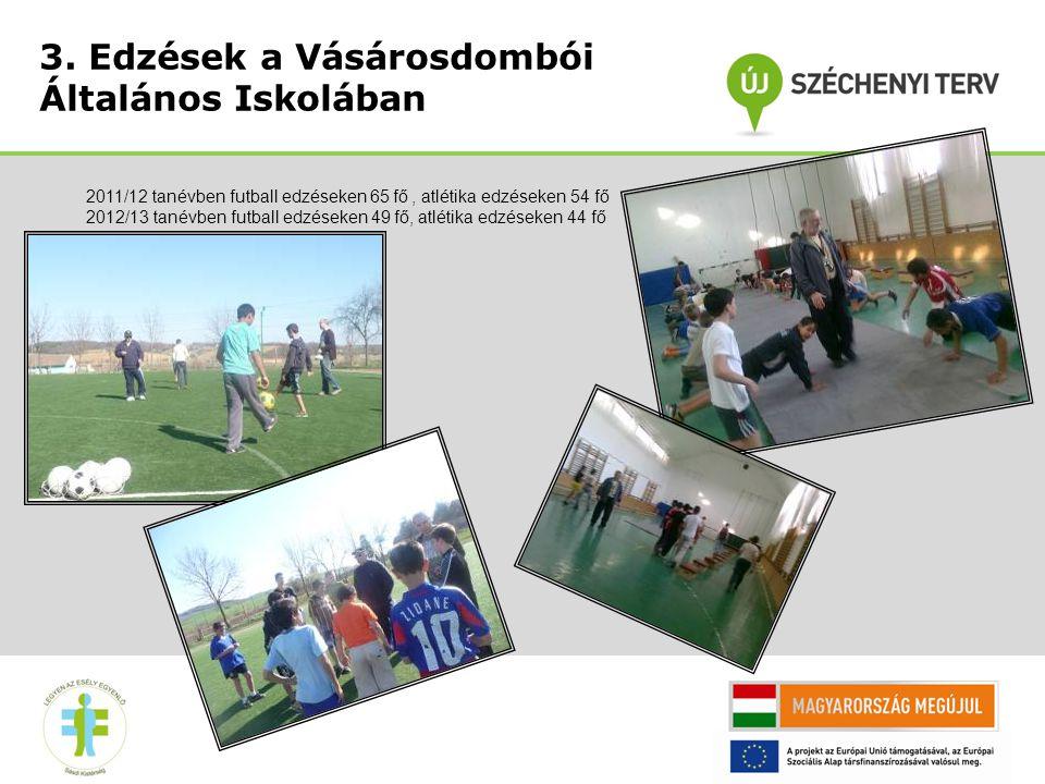 3. Edzések a Vásárosdombói Általános Iskolában 2011/12 tanévben futball edzéseken 65 fő, atlétika edzéseken 54 fő 2012/13 tanévben futball edzéseken 4