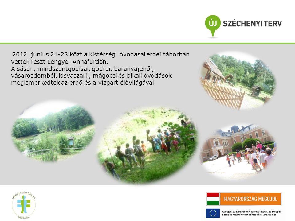 2012 június 21-28 közt a kistérség óvodásai erdei táborban vettek részt Lengyel-Annafürdőn.