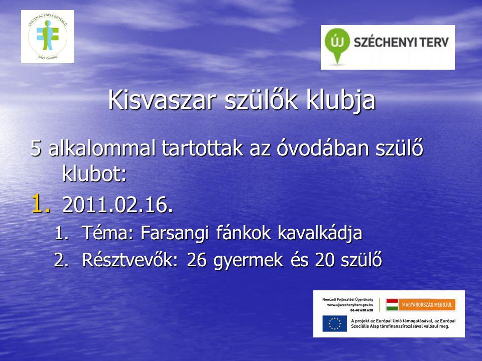 Kisvaszar szülők klubja 5 alkalommal tartottak az óvodában szülő klubot: 1.