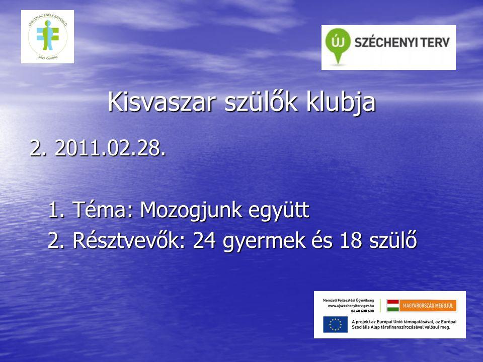 Kisvaszar szülők klubja 2. 2011.02.28. 1. Téma: Mozogjunk együtt 2.