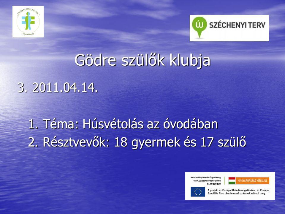 Gödre szülők klubja 3. 2011.04.14. 1. Téma: Húsvétolás az óvodában 2.