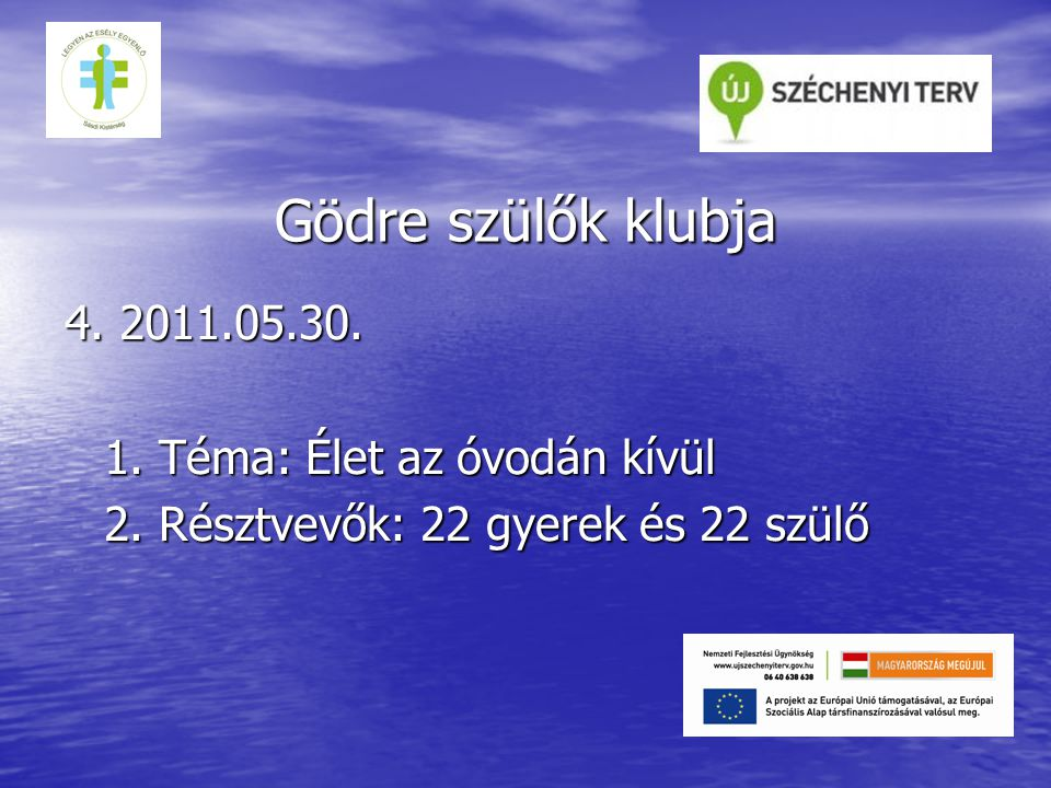 Gödre szülők klubja 4. 2011.05.30. 1. Téma: Élet az óvodán kívül 2.