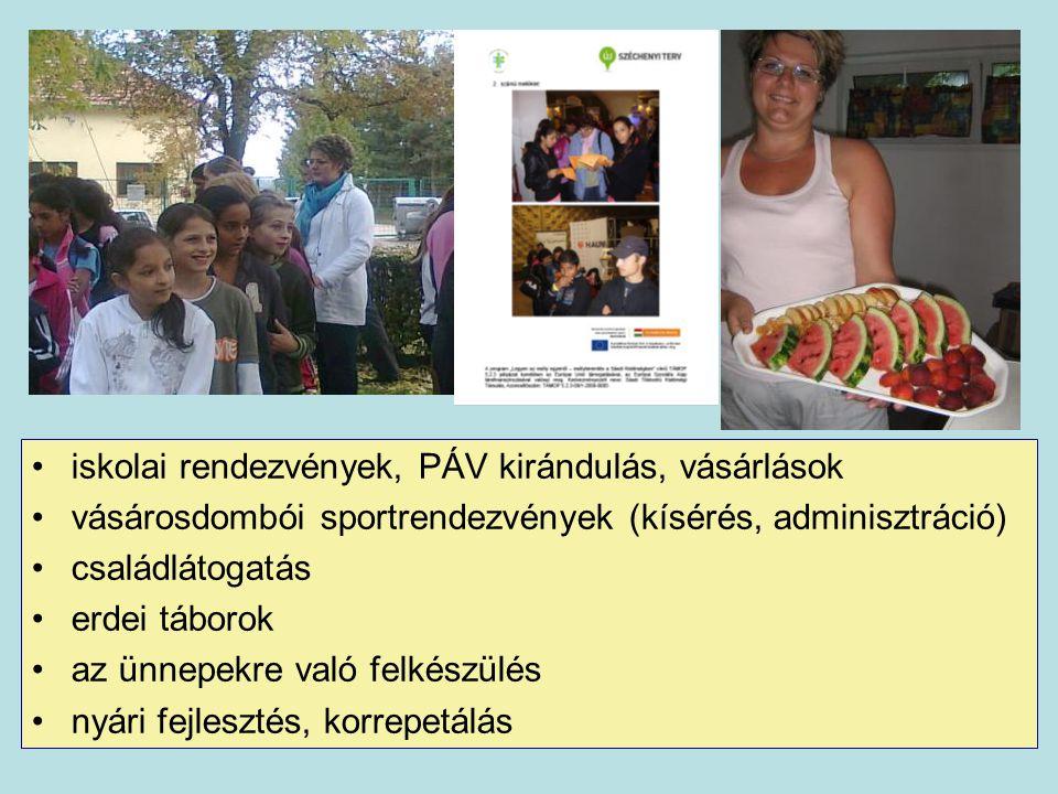 iskolai rendezvények, PÁV kirándulás, vásárlások vásárosdombói sportrendezvények (kísérés, adminisztráció) családlátogatás erdei táborok az ünnepekre