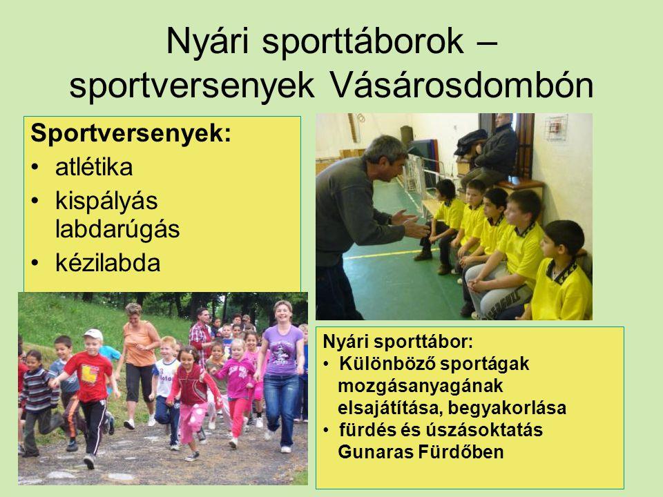 Nyári sporttáborok – sportversenyek Vásárosdombón Sportversenyek: atlétika kispályás labdarúgás kézilabda Nyári sporttábor: Különböző sportágak mozgás