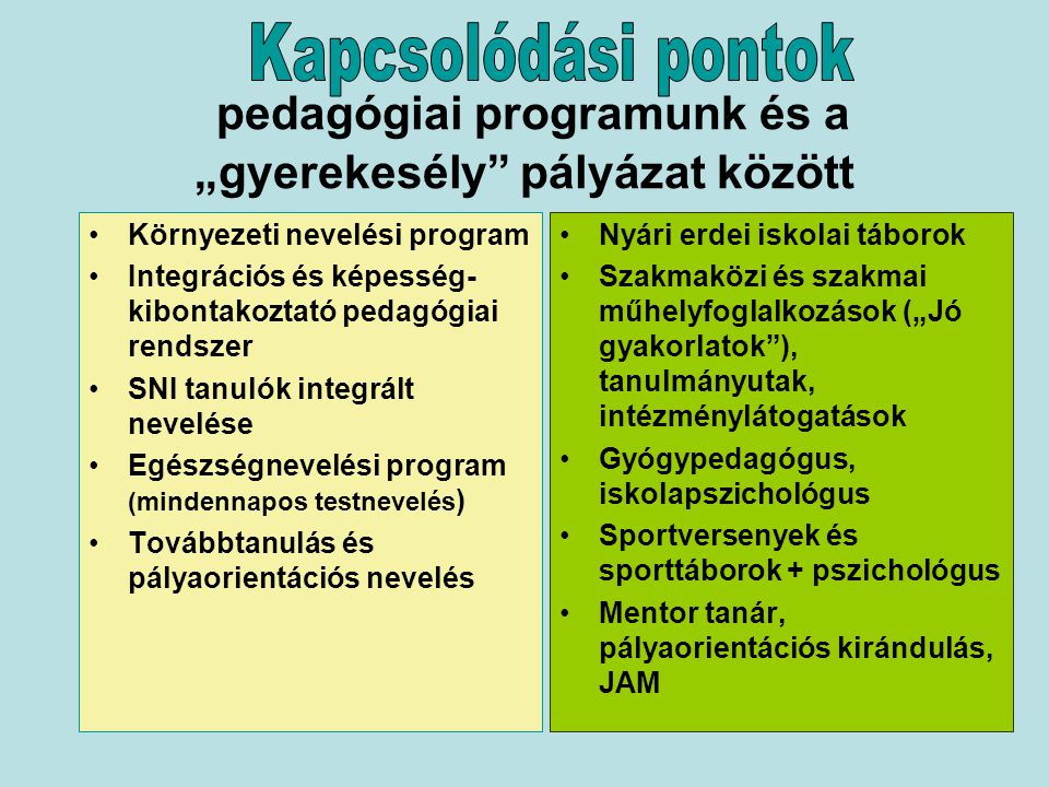 """Szakmaközi műhely """"Jó gyakorlatok szakmai műhely Szakmai tanulmányutak, intézménylátogatások Óvodai """"gyerekesély programok Pályaorientációs programok JAM – pedagógus továbbképzések Gyógypedagógus, mentor tanár, pszichológus IPR IKCS tevékenysége Módszertani fejlesztő csoport Óvoda-iskola átmenetet támogató csoport Középiskola átmenetet támogató csoport Útravaló Ösztöndíjprogram"""