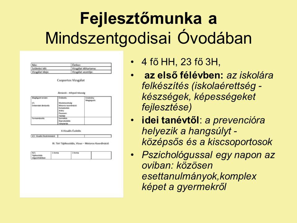 Fejlesztőmunka a Mindszentgodisai Óvodában 4 fő HH, 23 fő 3H, az első félévben: az iskolára felkészítés (iskolaérettség - készségek, képességeket fejl