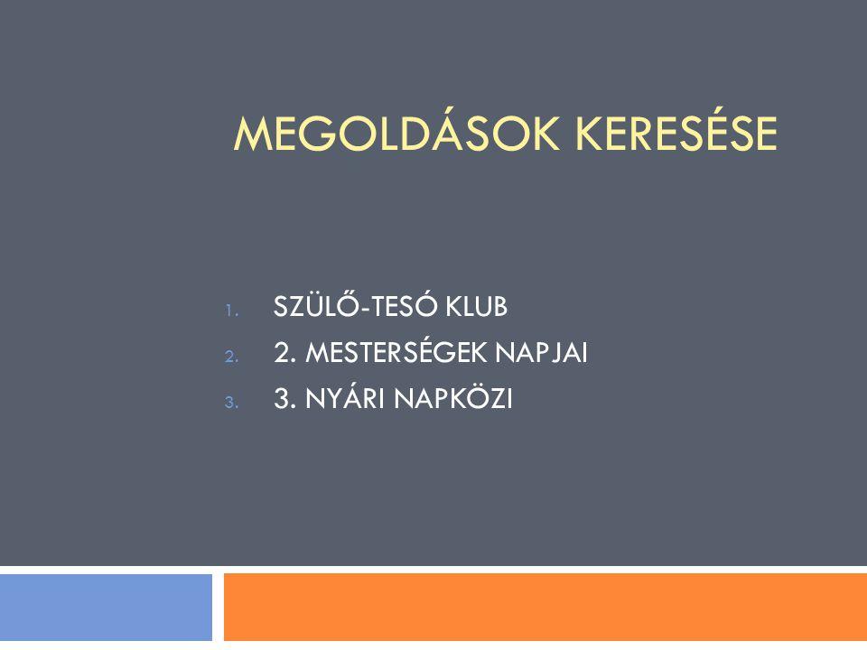MEGOLDÁSOK KERESÉSE 1. SZÜLŐ-TESÓ KLUB 2. 2. MESTERSÉGEK NAPJAI 3. 3. NYÁRI NAPKÖZI