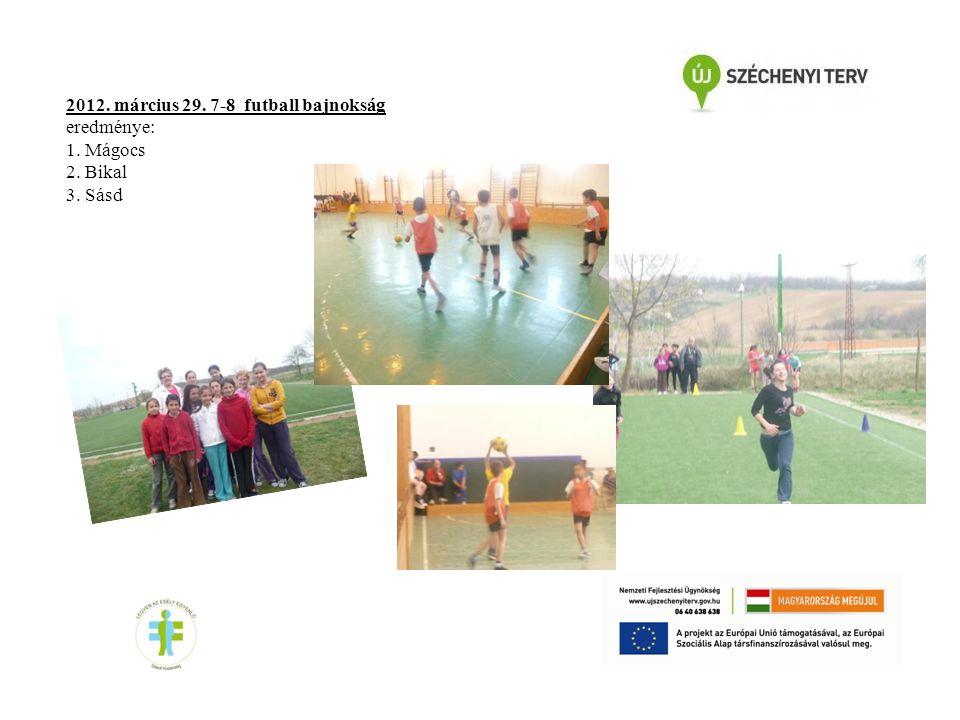 2012. március 29. 7-8 futball bajnokság eredménye: 1. Mágocs 2. Bikal 3. Sásd