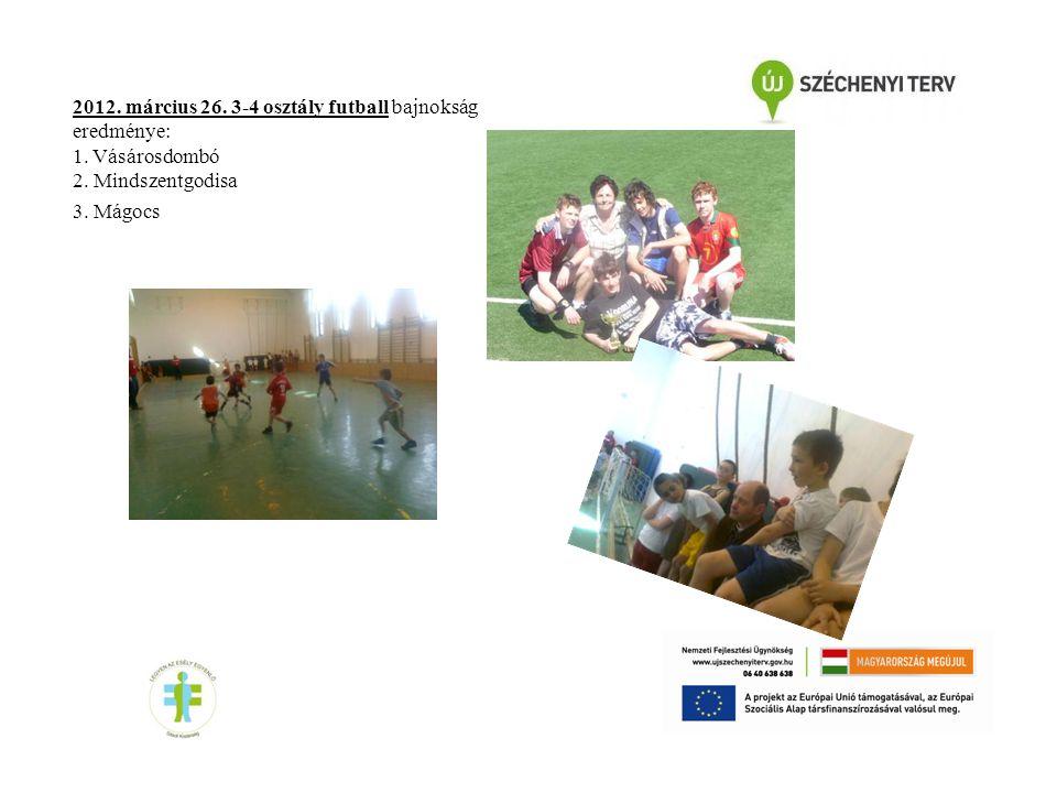 2012. március 26. 3-4 osztály futball bajnokság eredménye: 1. Vásárosdombó 2. Mindszentgodisa 3. Mágocs