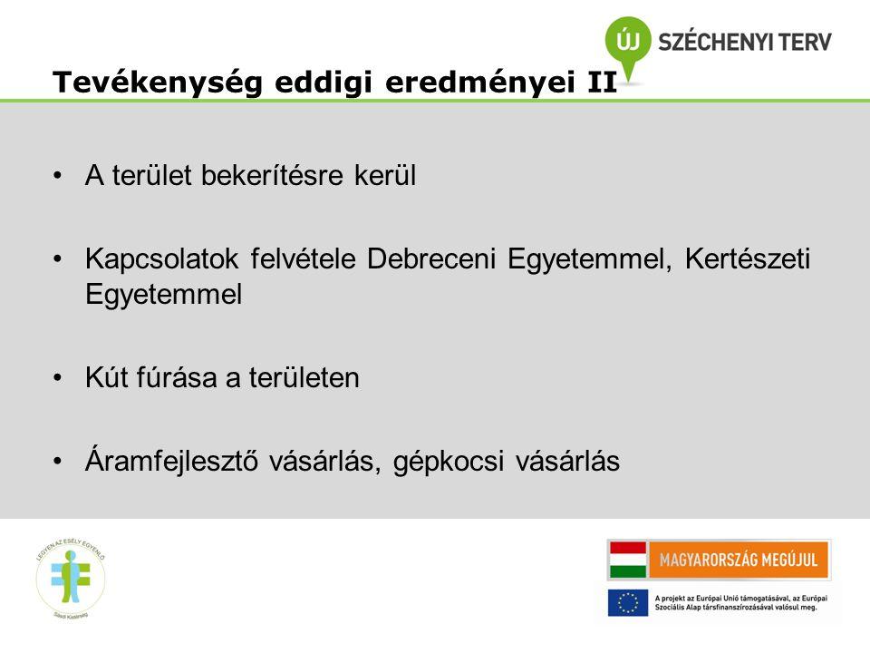 13 A terület bekerítésre kerül Kapcsolatok felvétele Debreceni Egyetemmel, Kertészeti Egyetemmel Kút fúrása a területen Áramfejlesztő vásárlás, gépkocsi vásárlás Tevékenység eddigi eredményei II