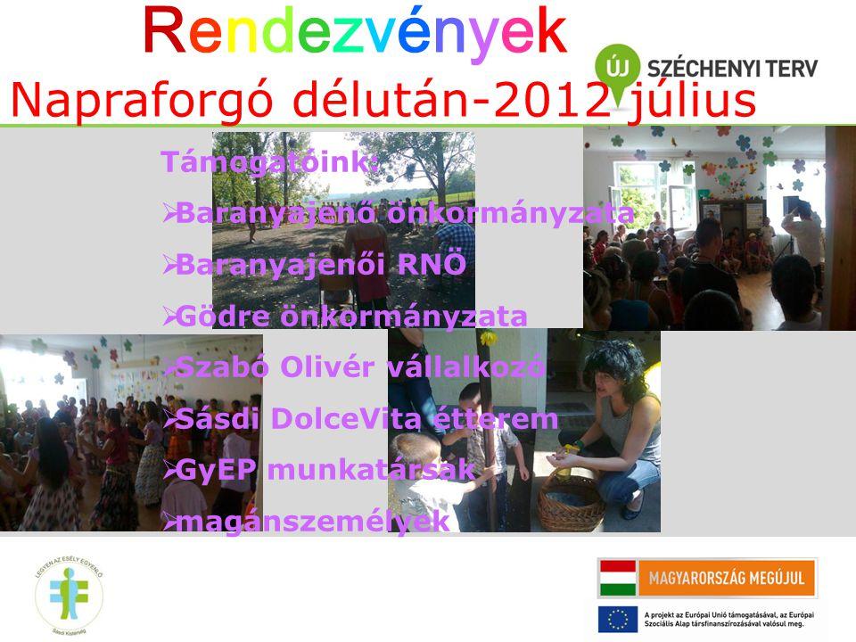 RendezvényekRendezvények Napraforgó délután-2012 július Támogatóink:  Baranyajenő önkormányzata  Baranyajenői RNÖ  Gödre önkormányzata  Szabó Oliv