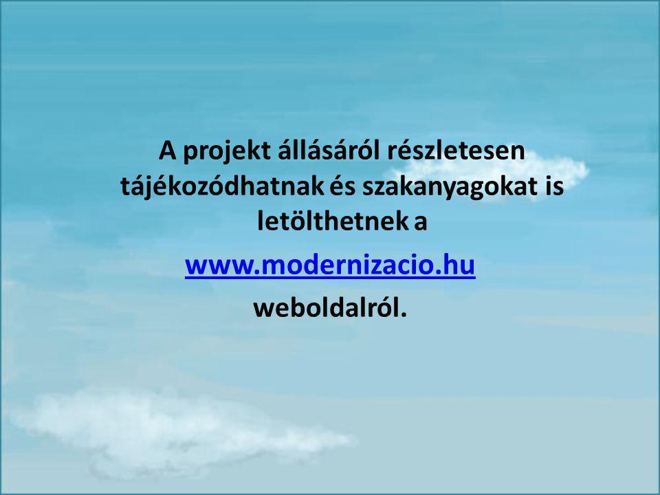 A projekt állásáról részletesen tájékozódhatnak és szakanyagokat is letölthetnek a www.modernizacio.hu weboldalról.