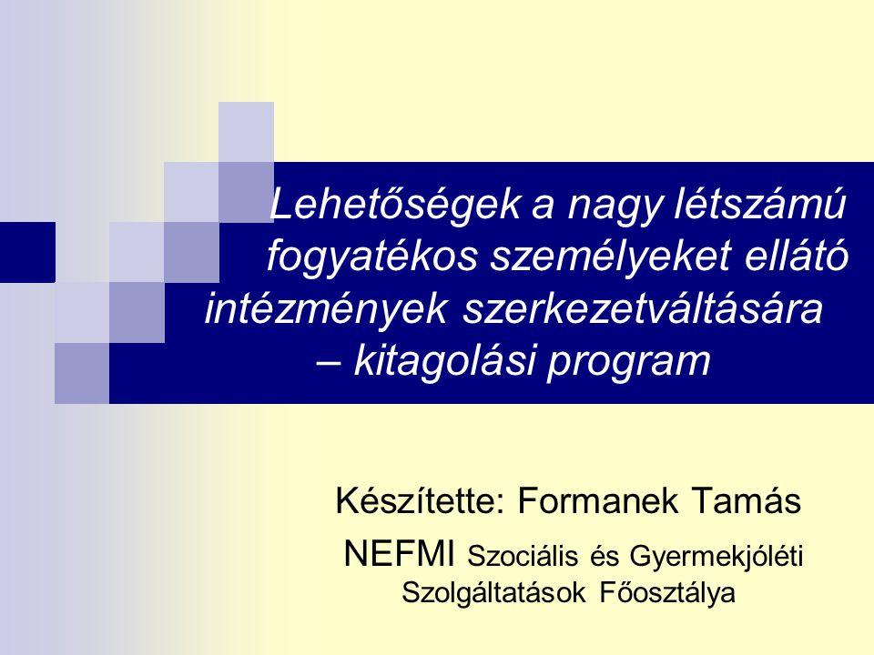 Formanek Tamás Lehetőségek http://www.kormany.hu/hu/nemzeti-eroforras-miniszterium Integráció nem csak fizikai infrastruktúra HANEM maguknak a fogyatékos személyeknek az adott közösségbe történő befogadása, mindennapi folyamatokban való részvételük Ezért elképzelhetetlen, hogy a lakhatási szolgáltatások ugyanoda épüljenek, ahol a szegregált nagy létszámú intézmény állt a szegregált nagy létszámú intézményeket a kitagolást követően új lakókkal töltsék fel Munkaerő-piaci integráció - adekvát, értékteremtő munkavégzés, szükség szerint a támogatott foglalkoztatás biztosítása