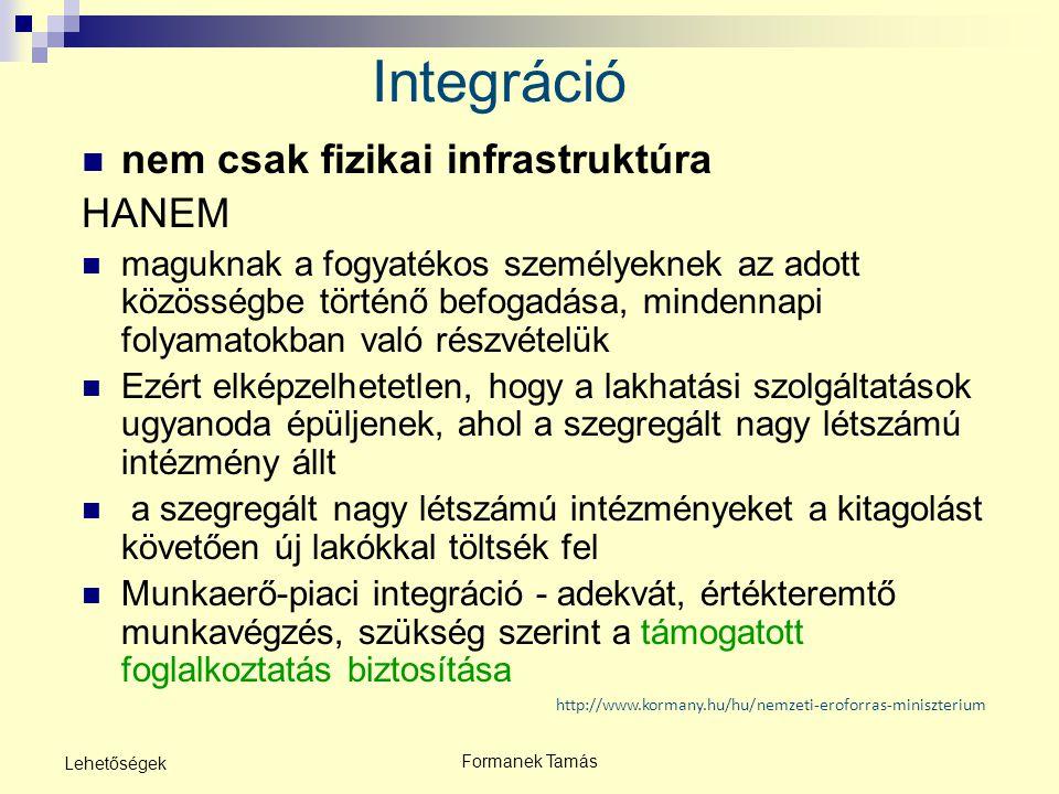 Formanek Tamás Lehetőségek http://www.kormany.hu/hu/nemzeti-eroforras-miniszterium Integráció nem csak fizikai infrastruktúra HANEM maguknak a fogyaté