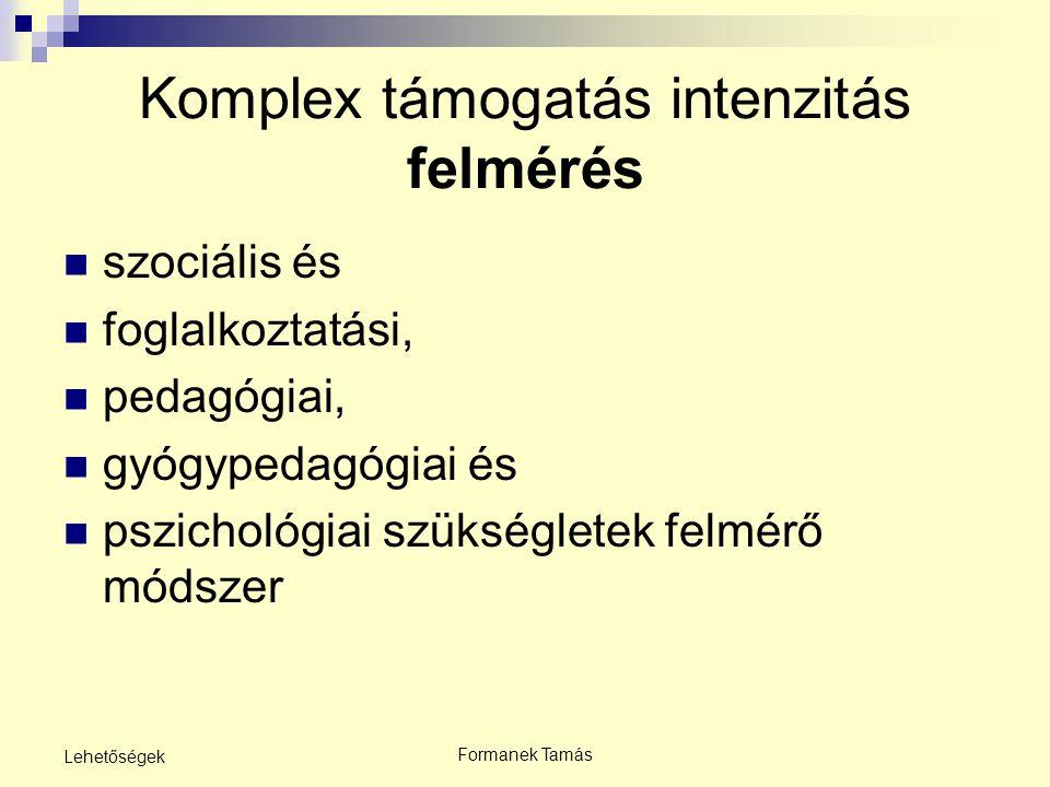 Formanek Tamás Lehetőségek Komplex támogatás intenzitás felmérés szociális és foglalkoztatási, pedagógiai, gyógypedagógiai és pszichológiai szükséglet