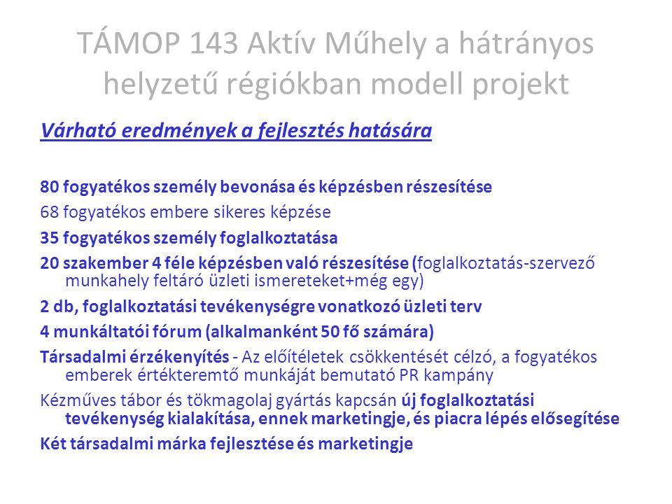 TÁMOP 143 Aktív Műhely a hátrányos helyzetű régiókban modell projekt Várható eredmények a fejlesztés hatására 80 fogyatékos személy bevonása és képzésben részesítése 68 fogyatékos embere sikeres képzése 35 fogyatékos személy foglalkoztatása 20 szakember 4 féle képzésben való részesítése (foglalkoztatás-szervező munkahely feltáró üzleti ismereteket+még egy) 2 db, foglalkoztatási tevékenységre vonatkozó üzleti terv 4 munkáltatói fórum (alkalmanként 50 fő számára) Társadalmi érzékenyítés - Az előítéletek csökkentését célzó, a fogyatékos emberek értékteremtő munkáját bemutató PR kampány Kézműves tábor és tökmagolaj gyártás kapcsán új foglalkoztatási tevékenység kialakítása, ennek marketingje, és piacra lépés elősegítése Két társadalmi márka fejlesztése és marketingje