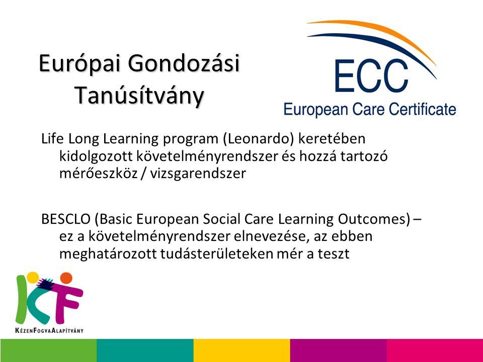 Európai Gondozási Tanúsítvány Life Long Learning program (Leonardo) keretében kidolgozott követelményrendszer és hozzá tartozó mérőeszköz / vizsgarendszer BESCLO (Basic European Social Care Learning Outcomes) – ez a követelményrendszer elnevezése, az ebben meghatározott tudásterületeken mér a teszt