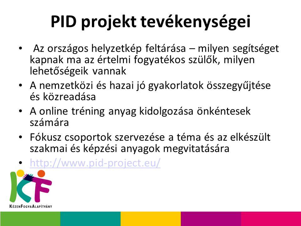 PID projekt tevékenységei Az országos helyzetkép feltárása – milyen segítséget kapnak ma az értelmi fogyatékos szülők, milyen lehetőségeik vannak A nemzetközi és hazai jó gyakorlatok összegyűjtése és közreadása A online tréning anyag kidolgozása önkéntesek számára Fókusz csoportok szervezése a téma és az elkészült szakmai és képzési anyagok megvitatására http://www.pid-project.eu/