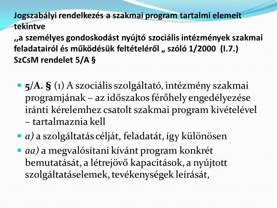 """Jogszabályi rendelkezés a szakmai program tartalmi elemeit tekintve,,a személyes gondoskodást nyújtó szociális intézmények szakmai feladatairól és működésük feltételéről """" szóló 1/2000 (I.7.) SzCsM rendelet 5/A § 5/A."""