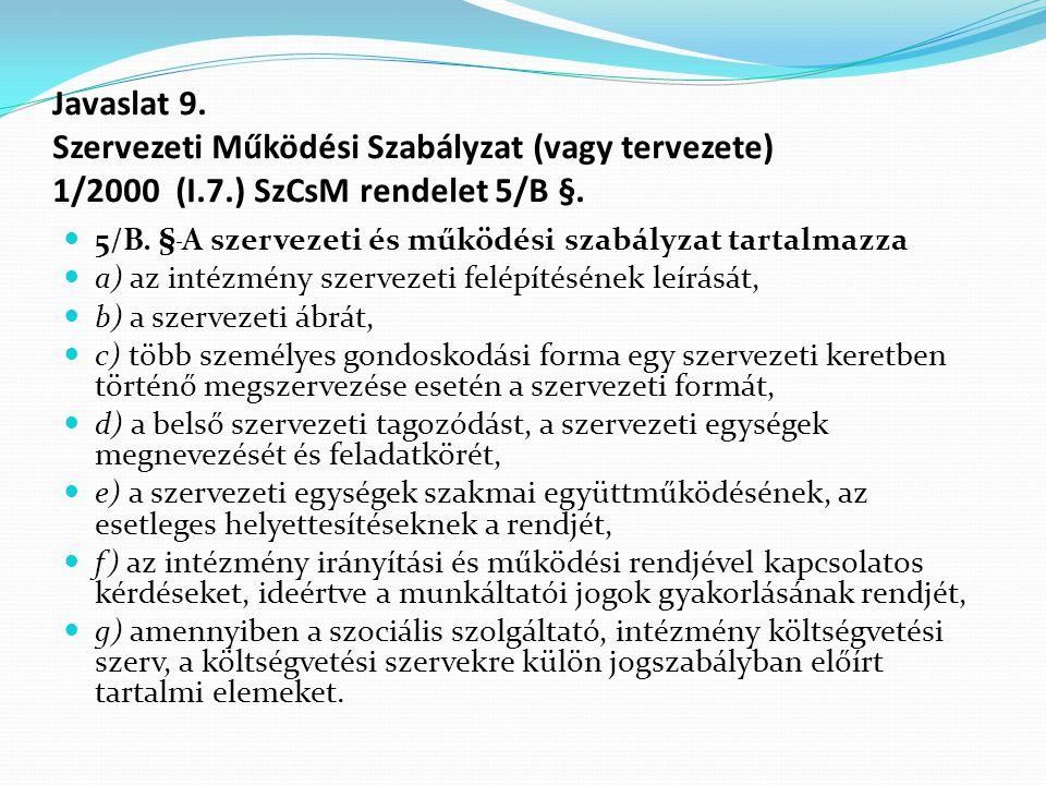 Javaslat 9. Szervezeti Működési Szabályzat (vagy tervezete) 1/2000 (I.7.) SzCsM rendelet 5/B §.