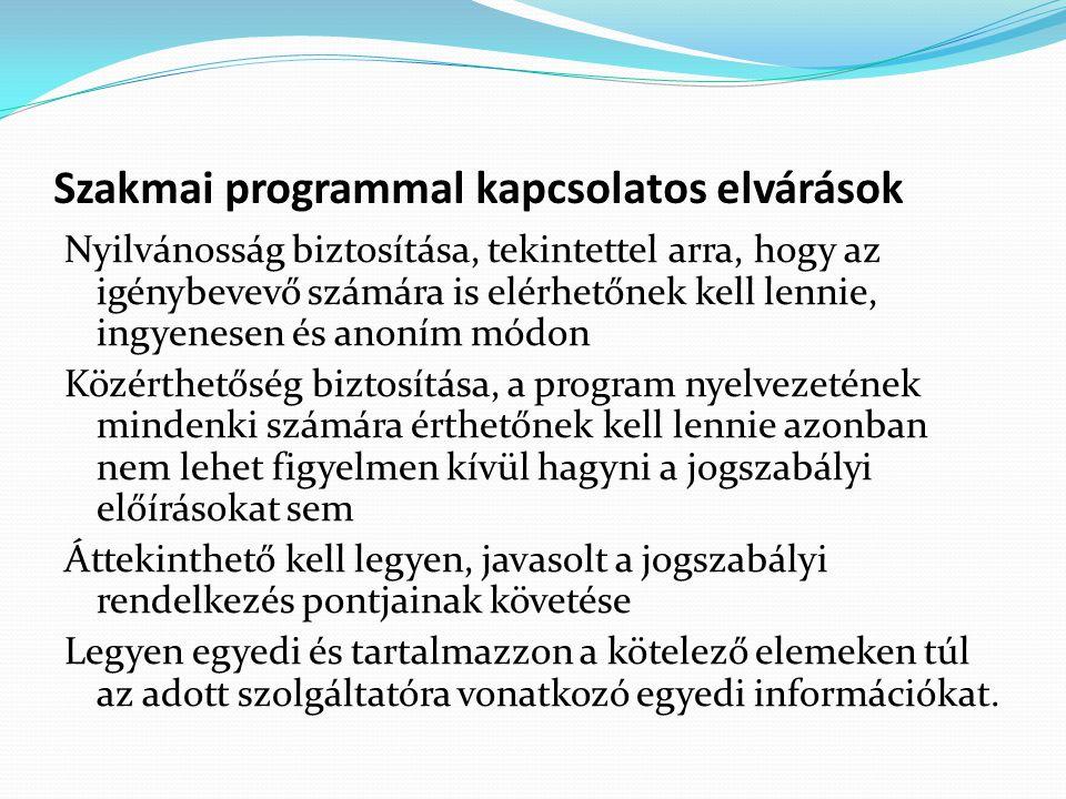 Szakmai programmal kapcsolatos elvárások Nyilvánosság biztosítása, tekintettel arra, hogy az igénybevevő számára is elérhetőnek kell lennie, ingyenesen és anoním módon Közérthetőség biztosítása, a program nyelvezetének mindenki számára érthetőnek kell lennie azonban nem lehet figyelmen kívül hagyni a jogszabályi előírásokat sem Áttekinthető kell legyen, javasolt a jogszabályi rendelkezés pontjainak követése Legyen egyedi és tartalmazzon a kötelező elemeken túl az adott szolgáltatóra vonatkozó egyedi információkat.