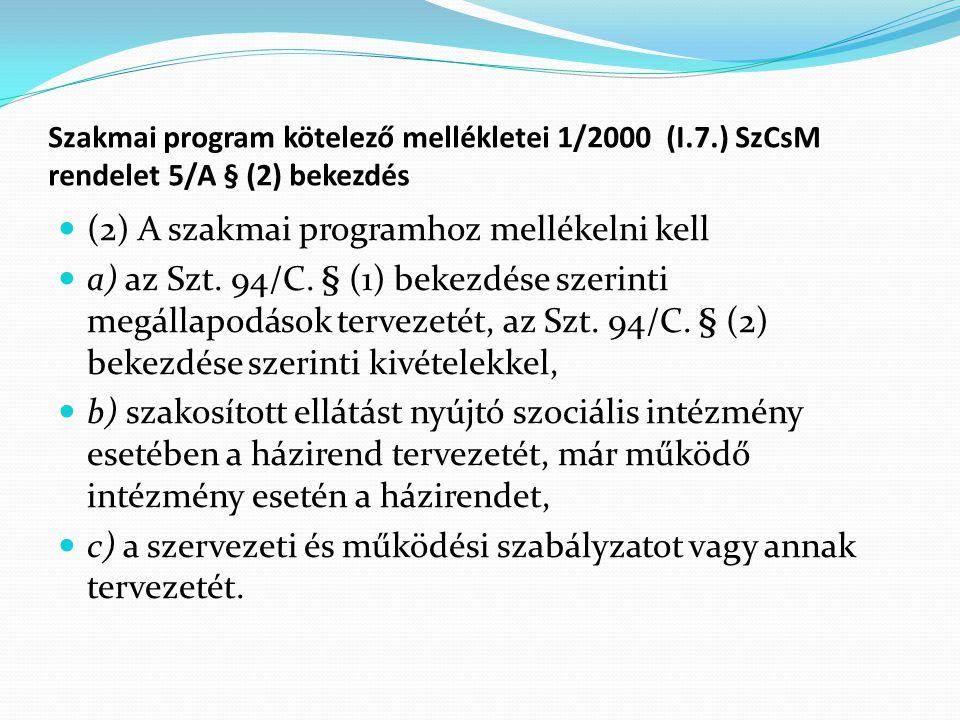 Szakmai program kötelező mellékletei 1/2000 (I.7.) SzCsM rendelet 5/A § (2) bekezdés (2) A szakmai programhoz mellékelni kell a) az Szt.