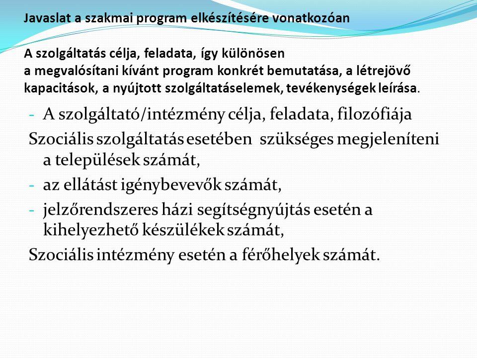 Javaslat a szakmai program elkészítésére vonatkozóan A szolgáltatás célja, feladata, így különösen a megvalósítani kívánt program konkrét bemutatása, a létrejövő kapacitások, a nyújtott szolgáltatáselemek, tevékenységek leírása.