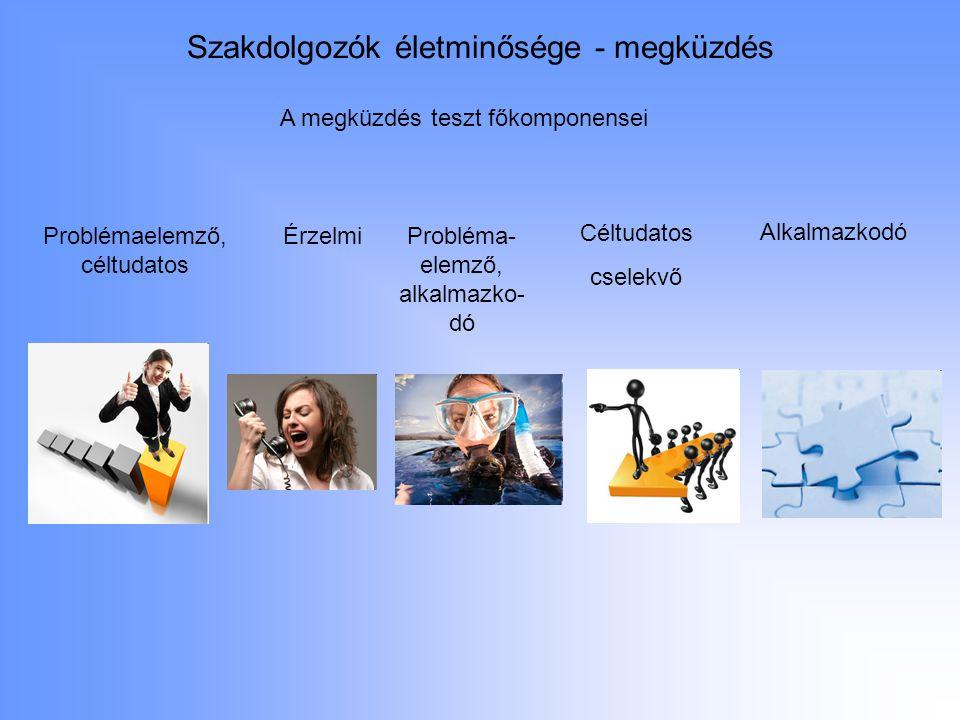 Szakdolgozók életminősége - megküzdés Problémaelemző, céltudatos ÉrzelmiProbléma- elemző, alkalmazko- dó Céltudatos cselekvő Alkalmazkodó A megküzdés