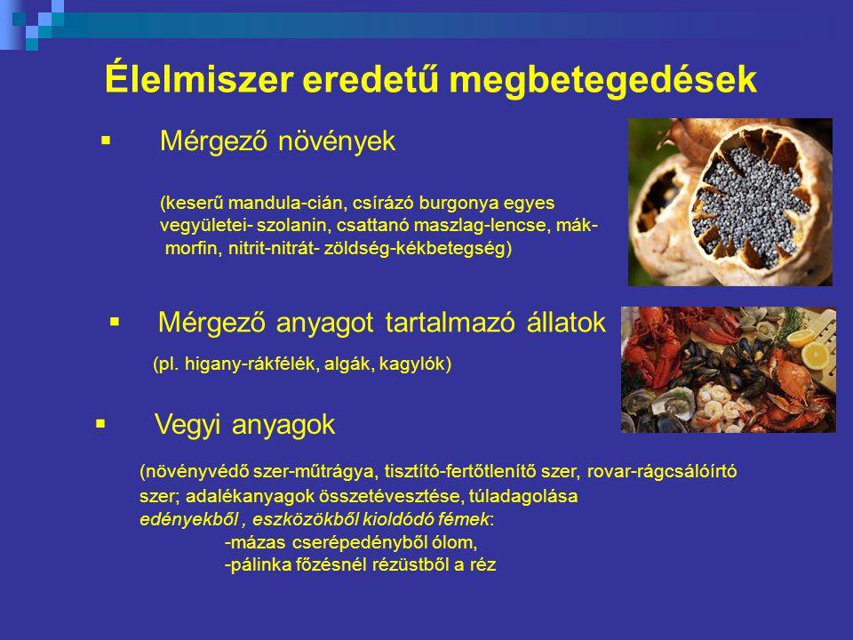 Élelmiszer eredetű megbetegedések (keserű mandula-cián, csírázó burgonya egyes vegyületei- szolanin, csattanó maszlag-lencse, mák- morfin, nitrit-nitrát- zöldség-kékbetegség)  Mérgező anyagot tartalmazó állatok (pl.