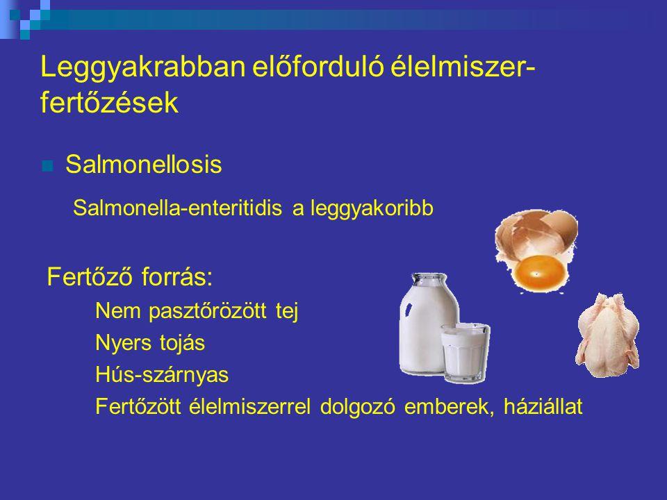 Leggyakrabban előforduló élelmiszer- fertőzések Salmonellosis Salmonella-enteritidis a leggyakoribb Fertőző forrás: Nem pasztőrözött tej Nyers tojás Hús-szárnyas Fertőzött élelmiszerrel dolgozó emberek, háziállat
