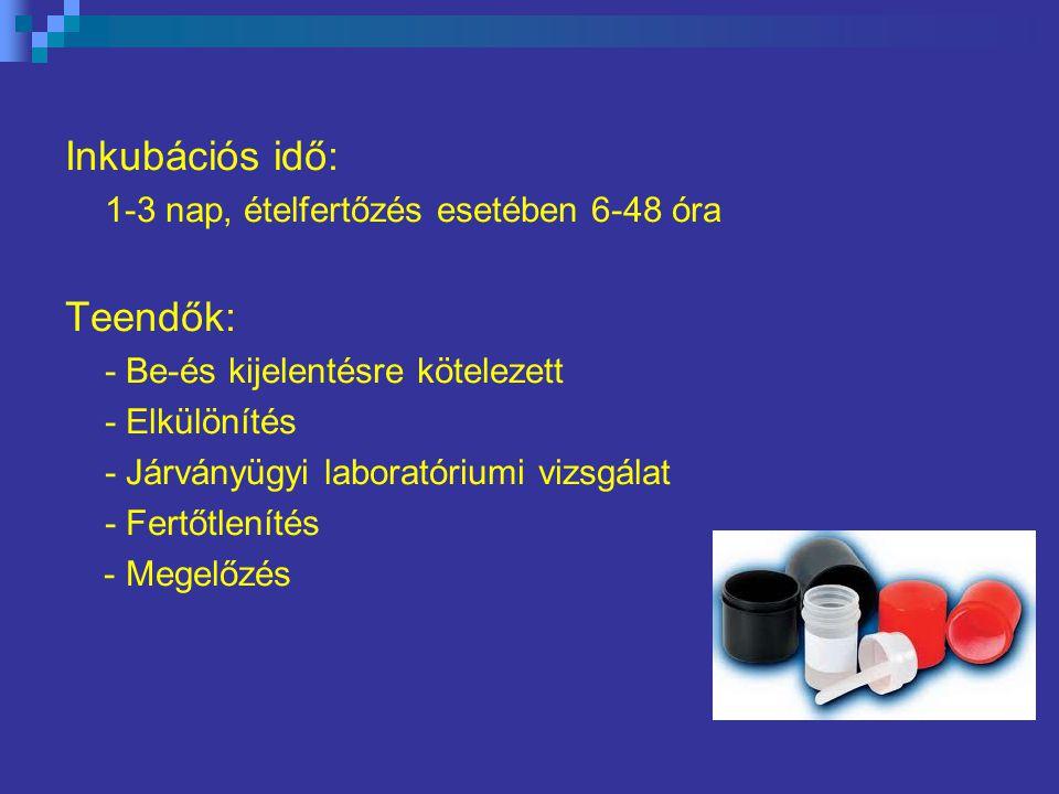 Inkubációs idő: 1-3 nap, ételfertőzés esetében 6-48 óra Teendők: - Be-és kijelentésre kötelezett - Elkülönítés - Járványügyi laboratóriumi vizsgálat - Fertőtlenítés - Megelőzés
