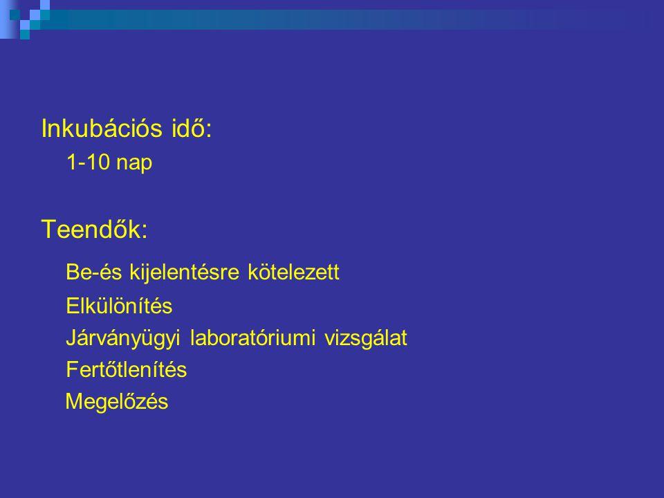 Inkubációs idő: 1-10 nap Teendők: Be-és kijelentésre kötelezett Elkülönítés Járványügyi laboratóriumi vizsgálat Fertőtlenítés Megelőzés