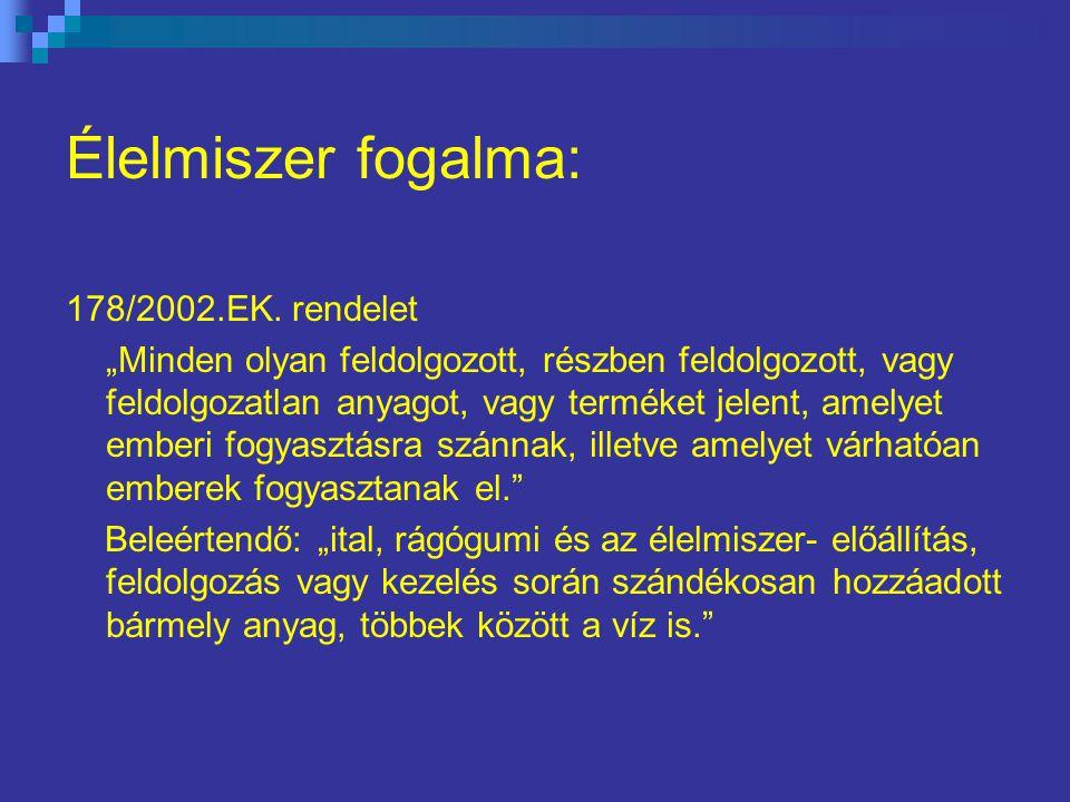 Élelmiszer fogalma: 178/2002.EK.