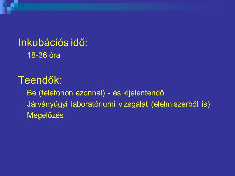 Inkubációs idő: 18-36 óra Teendők: Be (telefonon azonnal) - és kijelentendő Járványügyi laboratóriumi vizsgálat (élelmiszerből is) Megelőzés