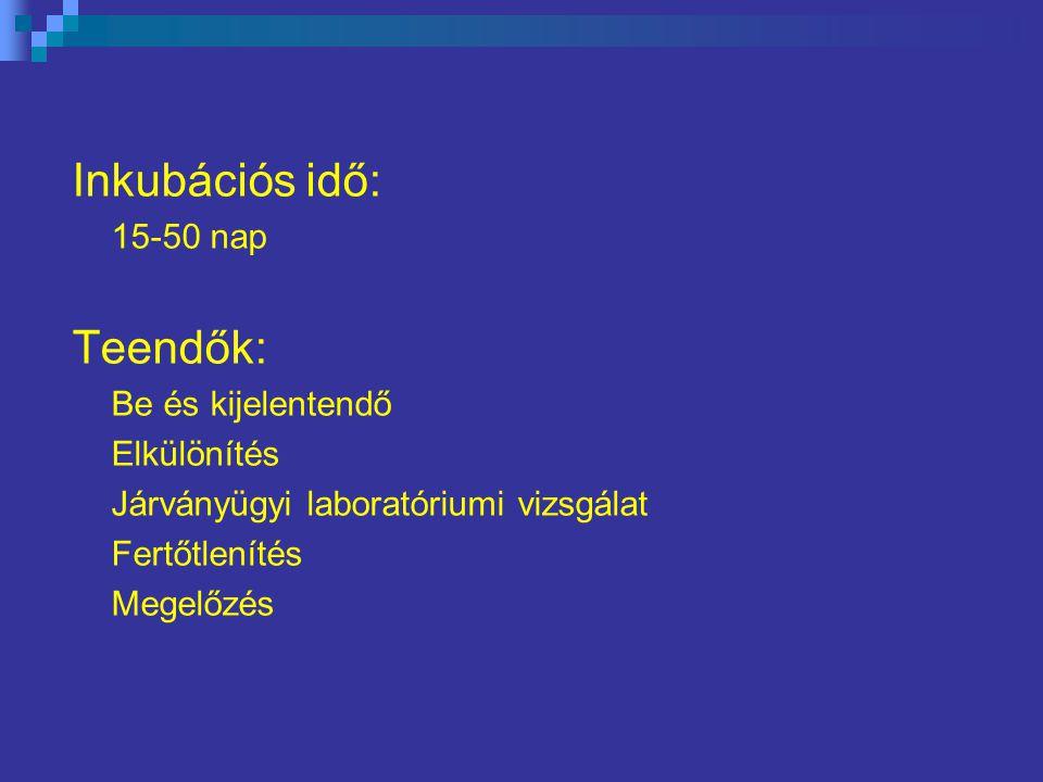Inkubációs idő: 15-50 nap Teendők: Be és kijelentendő Elkülönítés Járványügyi laboratóriumi vizsgálat Fertőtlenítés Megelőzés