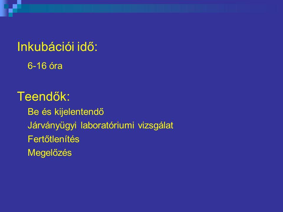 Inkubációi idő: 6-16 óra Teendők: Be és kijelentendő Járványügyi laboratóriumi vizsgálat Fertőtlenítés Megelőzés