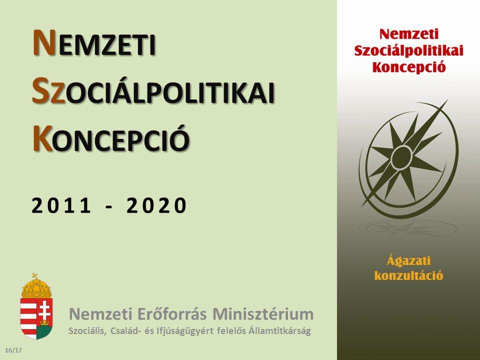 N EMZETI S ZOCIÁLPOLITIKAI K ONCEPCIÓ 2011 - 2020 Nemzeti Erőforrás Minisztérium Szociális, Család- és Ifjúságügyért felelős Államtitkárság 16/17