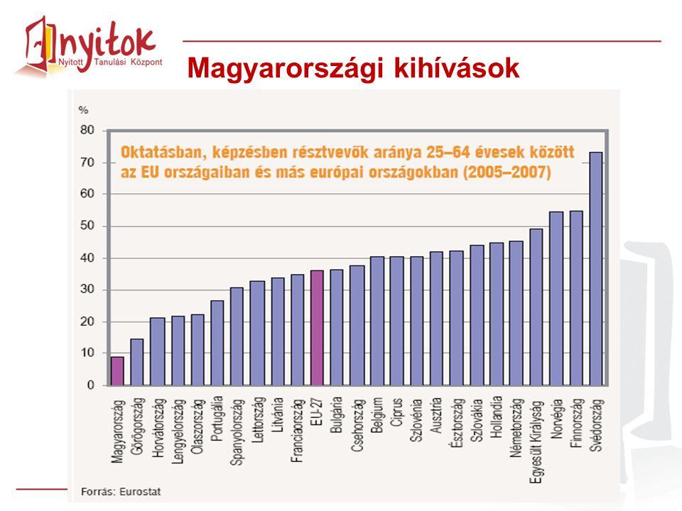 """A felnőttképzésekhez való hozzáférés problémái és az infrastruktúra hiánya A felnőttképzési piac """"kínálat-vezérelt Pedagógiai módszerek alkalmatlansága Informális, nonformális tanulási lehetőségek hiánya Magyarországi kihívások"""