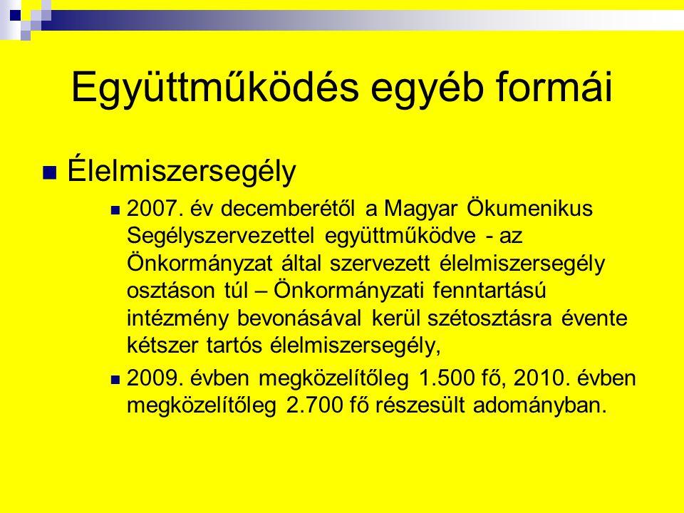 Együttműködés egyéb formái Élelmiszersegély 2007. év decemberétől a Magyar Ökumenikus Segélyszervezettel együttműködve - az Önkormányzat által szervez