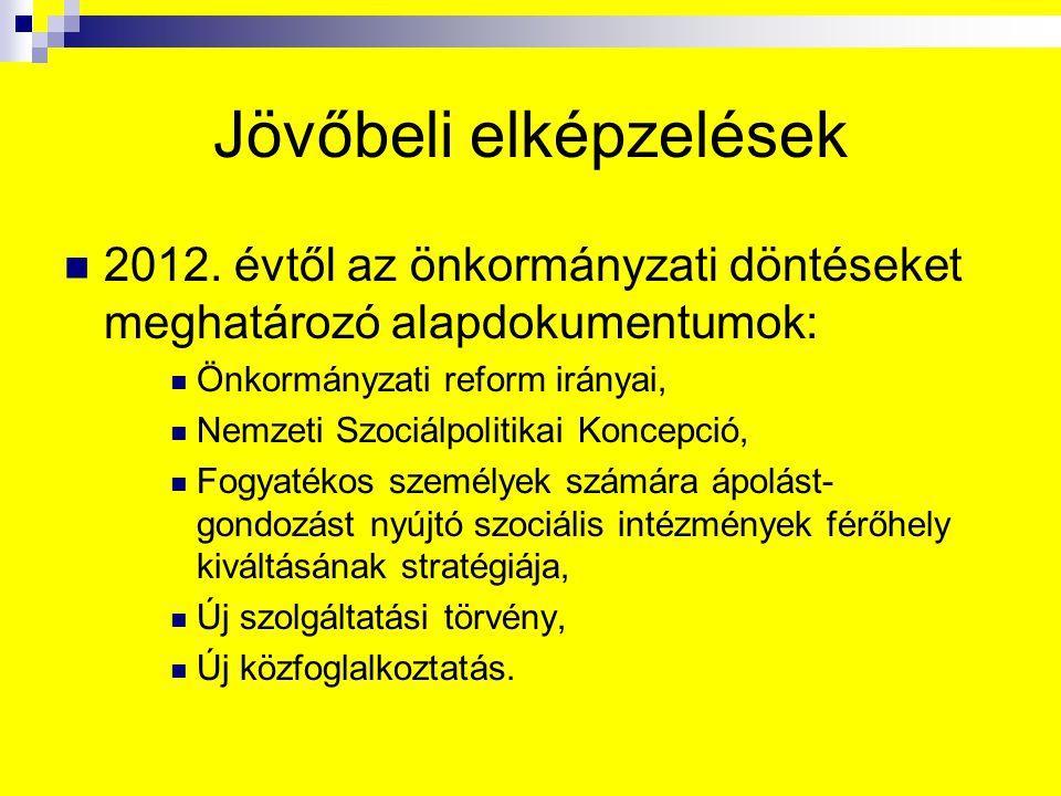 Jövőbeli elképzelések 2012. évtől az önkormányzati döntéseket meghatározó alapdokumentumok: Önkormányzati reform irányai, Nemzeti Szociálpolitikai Kon