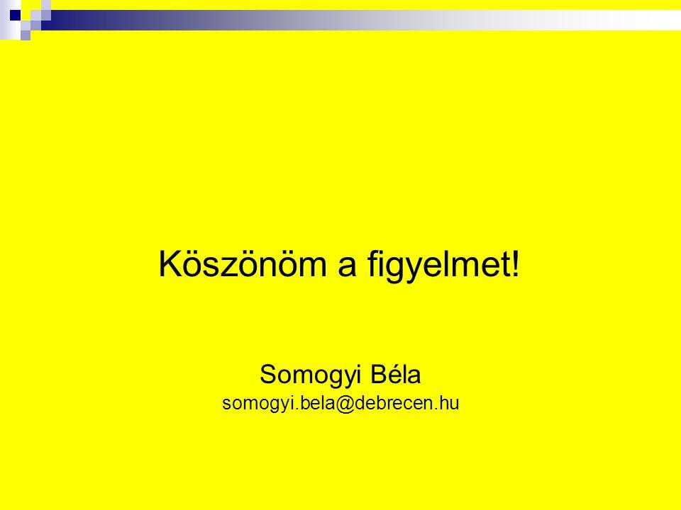 Köszönöm a figyelmet! Somogyi Béla somogyi.bela@debrecen.hu