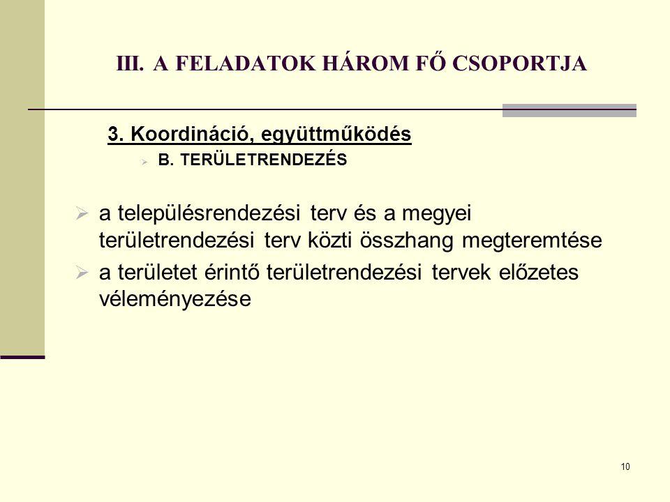 10 III. A FELADATOK HÁROM FŐ CSOPORTJA 3. Koordináció, együttműködés  B. TERÜLETRENDEZÉS  a településrendezési terv és a megyei területrendezési ter