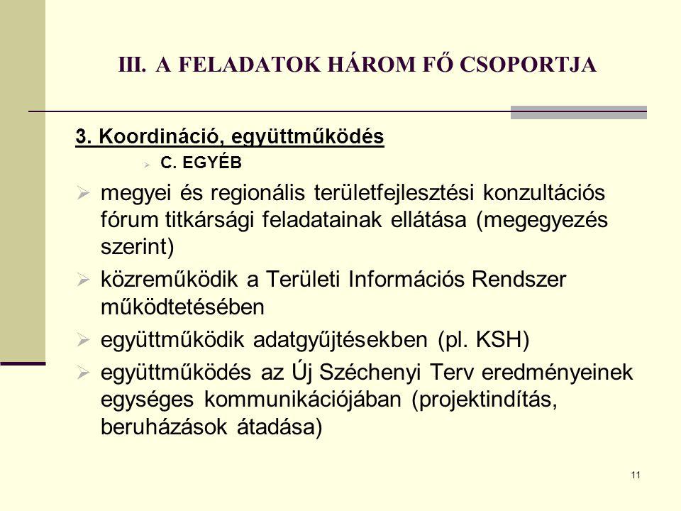 11 III. A FELADATOK HÁROM FŐ CSOPORTJA 3. Koordináció, együttműködés  C. EGYÉB  megyei és regionális területfejlesztési konzultációs fórum titkárság
