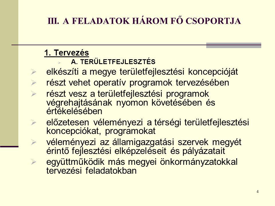 4 III. A FELADATOK HÁROM FŐ CSOPORTJA 1. Tervezés  A. TERÜLETFEJLESZTÉS  elkészíti a megye területfejlesztési koncepcióját  részt vehet operatív pr