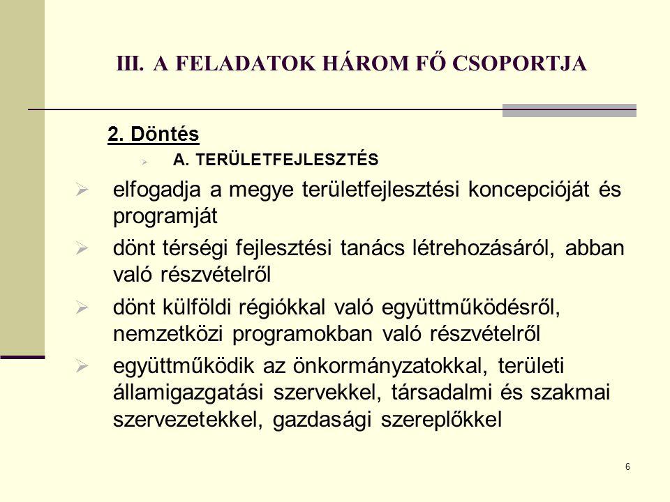 6 III. A FELADATOK HÁROM FŐ CSOPORTJA 2. Döntés  A. TERÜLETFEJLESZTÉS  elfogadja a megye területfejlesztési koncepcióját és programját  dönt térség