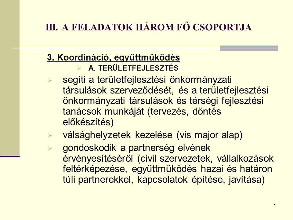 9 III. A FELADATOK HÁROM FŐ CSOPORTJA 3. Koordináció, együttműködés  A. TERÜLETFEJLESZTÉS  segíti a területfejlesztési önkormányzati társulások szer